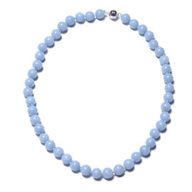 Machu Picchu Angelite Beaded Necklace in Rhodium Plated Sterling Silver 20 Inch