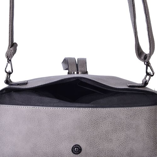 Celina Classic Grey Crossbody Bag with Adjustable and Removable Strap (Size 24x19.5x6 Cm)