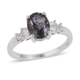 ILIANA 2.25 Ct AAA Peacock Tanzanite and Diamond Ballerina Ring in 18K White Gold 4.5 Grams SI GH