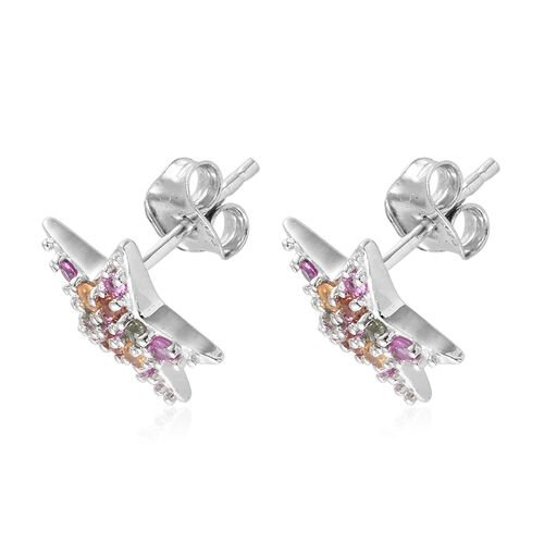 WEBEX- Multi Colour Gemstone (Rnd) Star Stud Earrings (with Push Back) in Platinum Overlay Sterling Silver 0.750 Ct.