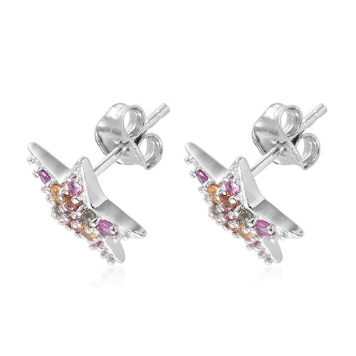 Multi Colour Gemstone (Rnd) Star Stud Earrings (with Push Back) in Platinum Overlay Sterling Silver 0.750 Ct.