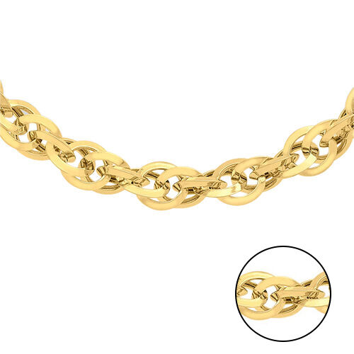 9K Yellow Gold Diamond Cut Prince of Wales Chain (Size 24) with Lobster Clasp, Gold wt 14.20 Gms