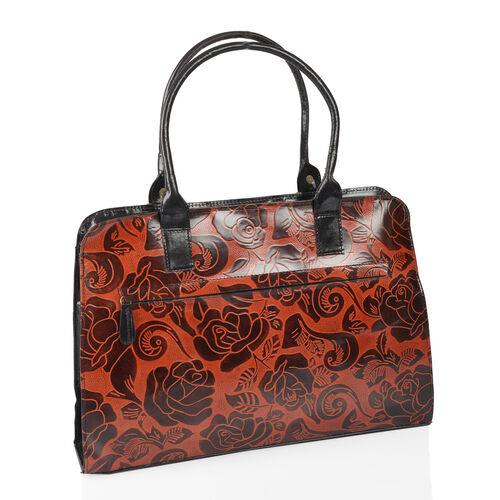 100% Genuine Leather Wine Red, Chocolate and Black Colour Hand Painted Floral Pattern RFID Shoulder Bag (Size 38X28X8 Cm)