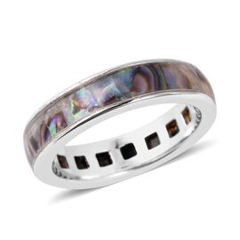 Abalone Shell (Sqr) Eternity Band Ring in Rhodium Overlay Sterling Silver