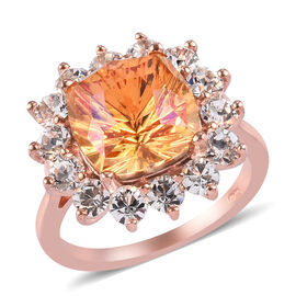 J Francis Crystal from Swarovski Astral Pink Crystal and White Crystal Ring in Rose Gold Overlay Ste