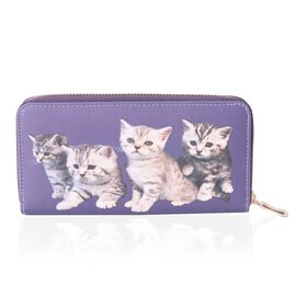 Super Chic Purple Colour Cute Cat Printed Long Purse (Size 18.5x9.5x2 Cm  Large Phone can fit in)