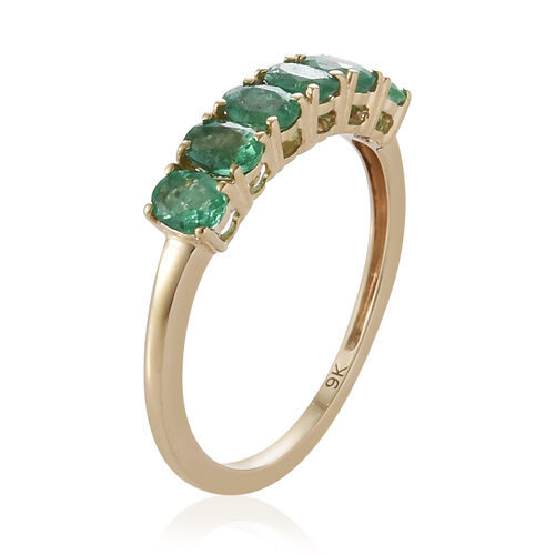 9K Yellow Gold AA Kagem Zambian Emerald (Ovl) Ring 0.850 Ct.
