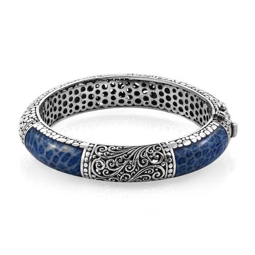 Royal Bali Blue Coral Filigree Design Bangle in Sterling Silver 57 Grams 7.5 Inch