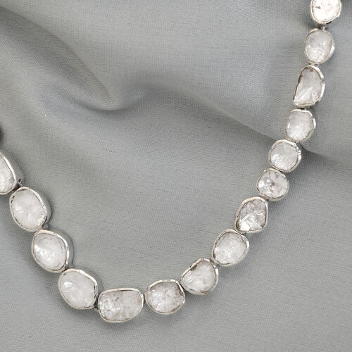 Artisan Crafted Polki Diamond Necklace (Size 18) in Platinum Overlay Sterling Silver 14.00 Ct, Silver wt. 35.96 Gms