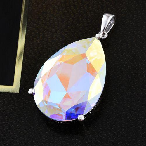 J Francis Crystal from Swarovski - Aurora Borealis Crystal (Pear) Pendant in Platinum Overlay Sterling Silver