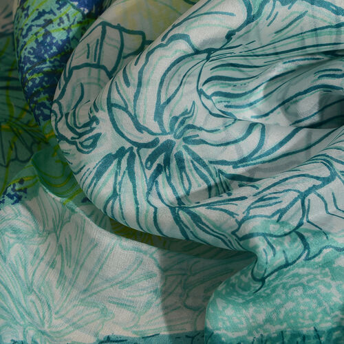 100% Mulberry Silk Green, Yellow and Multi Colour Handscreen Floral Printed Scarf (Size 200X88 Cm)