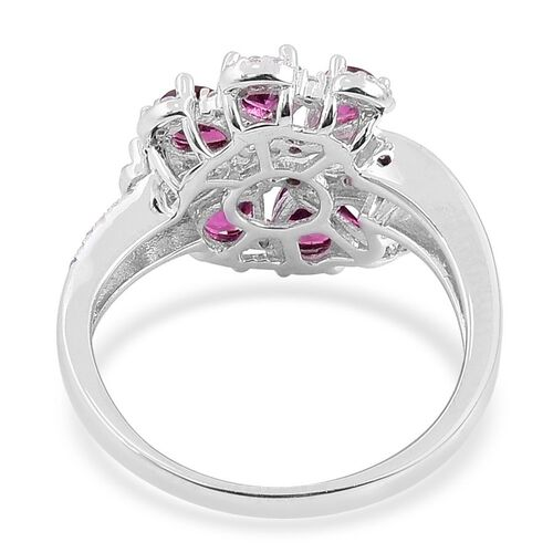 Odisha Rhodolite Garnet (Pear), White Zircon Ring in Platinum Overlay Sterling Silver 2.870 Ct.