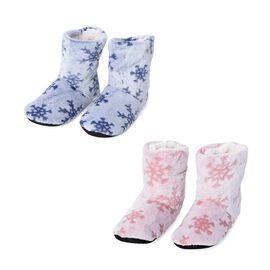 2 Piece Set - Flannel Sherpa Lined Home Booties with Snowflake Pattern (Size 25x18 Cm) - Pink and Bl