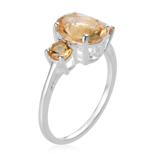 Citrine Trilogy Ring in Sterling Silver 1.90 Ct.