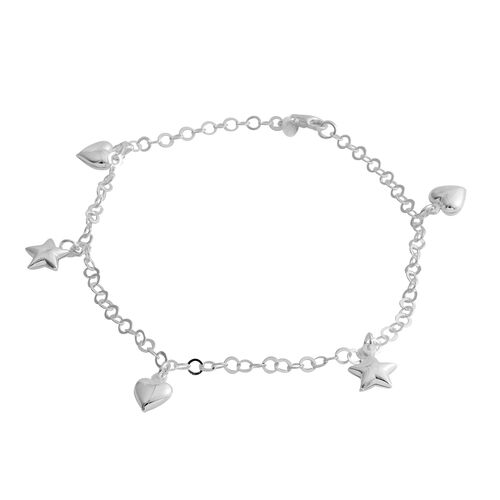 Sterling Silver Anklet (Size 10) with Heart and Star Charm, Silver wt 4.60 Gms.