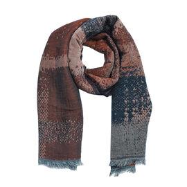 Super Luxurious Mohair & Cotton Blend Scarf - Blue and Brown Colour (Size 70x180 Cm)
