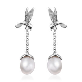 Freshwater Pearl Dangle Swooping Birds Earrings in Platinum Plated Silver