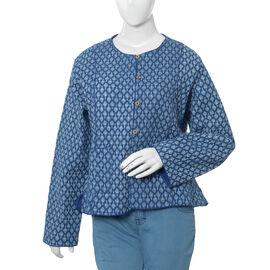 100% Cotton Blue Colour Princess Line Reversible Quilted Jacket (Size 110.5x63.5 Cm, M/L)