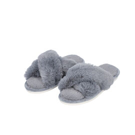 Super Soft Faux Fur Cross Band Slippers - Grey