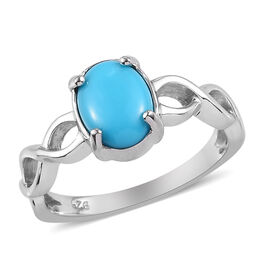 Arizona Sleeping Beauty Turquoise Ring in Platinum Overlay Sterling Silver 1.00 Ct.