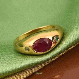 African Ruby and Grandidierite Ring in 14K Gold Overlay Sterling Silver 1.86 Ct.