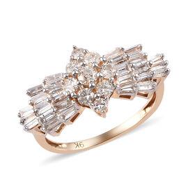 9K Yellow Gold SGL Certified Ballerina Diamond (I3/G-H) Ring 1.00 Ct.