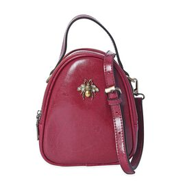 100% Genuine Leather Bee Crossbody Bag with Detachable Strap (Size 13x7x18 Cm) - Burgundy