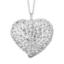 RACHEL GALLEY Rhodium Plated Sterling Silver Lattice Heart Necklace (Size 30), Silver wt. 32.00 Gms.