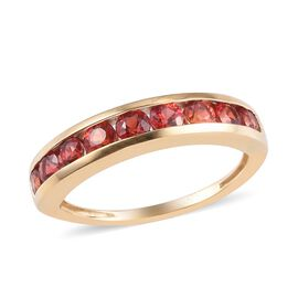 9K Yellow Gold Red Sapphire Half Eternity Ring 1.25 Ct.
