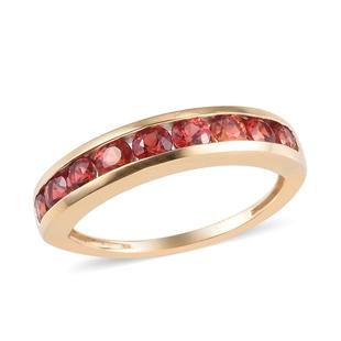 9K Yellow Gold Red Sapphire Half Eternity Ring 1.25 Ct.