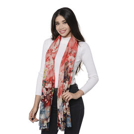100% Merino Wool Floral Pattern Scarf (Size 65x180cm) - Red and Multi Colour