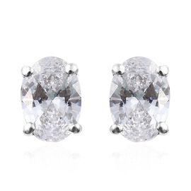 J Francis - Platinum Overlay Sterling Silver (Ovl) Stud Earrings (with Push Back) Made With SWAROVSK