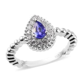 Tanzanite and Natural Cambodian Zircon Ring in Platinum Overlay Sterling Silver 1.00 Ct.