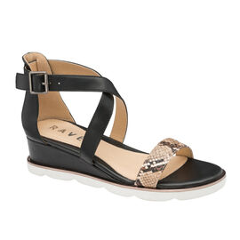 Ravel Junee Wedge Sandals in Black Colour