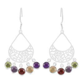 Hebei Peridot, Rose de France Amethyst and Multi Gemstones Dangling Hook Earrings in Sterling Silver