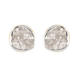 0.20 Ct Polki Diamond Stud Solitaire Earrings in Gold Plated Sterling Silver