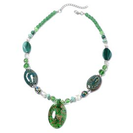 Green Murano Glass and Simulated Multi Gemstone Statement Necklace 24 with 3 inch Extender