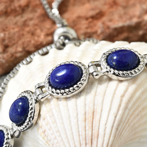 One Time Mega Deal-Lapis Lazuli (Ovl) Adjustable Bracelet (Size 6.5 - 9) in Stainless Steel 9.000 Ct.