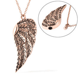 2 Piece Set - Angel Wing Memorial Pendant with Chain (Size 20) and Funnel with Needle in Rose Gold T