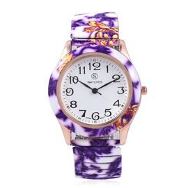 STRADA Japanese Movement Water Resistant White and Purple Colour Floral Pattern Watch in Stainless S