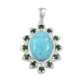 9.5 Ct Peruvain Amazonite and Russian Diopside Floral Pendant in Sterling Silver 7.01 Grams