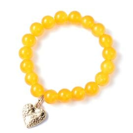 Yellow Agate (Rnd) Bead Bracelet (Size 7 Stretchable) with Heart Charm in Yellow Gold Plating 120.00