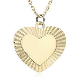 9K Yellow Gold Diamond Cut Polished Double Heart Pendant with Chain (Size 16 with 2 inch Extender)