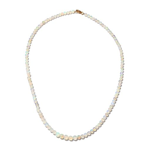 34.2 Ct Ethiopian Opal Beaded Necklace in 9K Gold 18 Inch