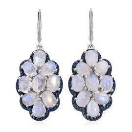 Sri Lankan Rainbow Moonstone (Ovl) Lever Back Earrings in Platinum Overlay Sterling Silver 17.000 Ct. Silver wt 10.38 Gms.