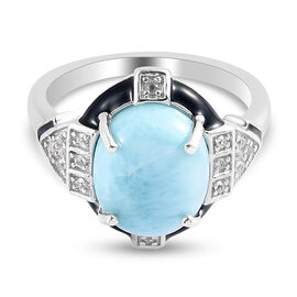 GP- Larimar, Natural Cambodian Zircon and Blue Sapphire Enamelled Ring in Platinum Overlay Sterling