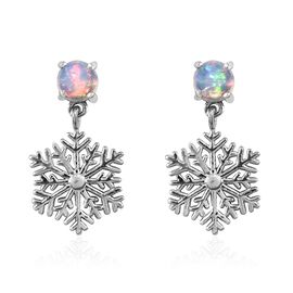 Ethiopian Welo Opal (Rnd) Snowflake Earrings (with Push Back) in Platinum Overlay Sterling Silver 0.