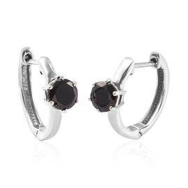 Elite Shungite Hoop Earrings (with Clasp Lock) in Platinum Overlay Sterling Silver 1.05 Ct.