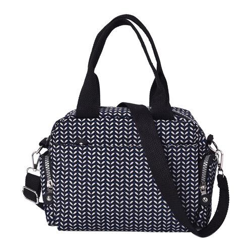 Leaf Pattern Satchel Bag with Zipper Closure and Detachable Adjustable Shoulder Strap (Size 25x10x16