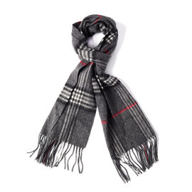 Super Soft Plaid Pattern Wool Scarf - Grey, Red and Black
